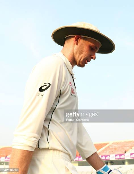 Peter Handscomb of Australia walks off the ground at the end of play during day two of the Second Test match between Bangladesh and Australia at...