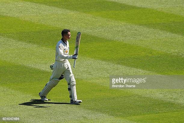 Peter Handscomb of the Bushrangers acknowledges the crowd after being dismissed by Steve Smith of the Blues during day two of the Sheffield Shield...