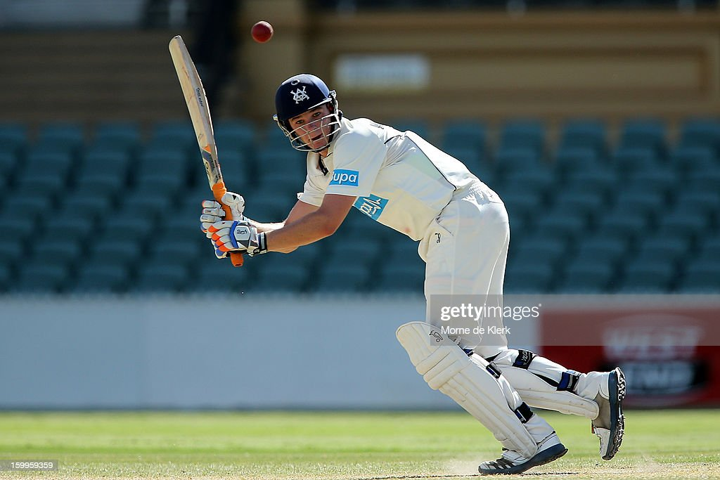 Peter Handscomb of the Bushrangers bats during day one of the Sheffield Shield match between the South Australia Redbacks and the Victoria Bushrangers at Adelaide Oval on January 24, 2013 in Adelaide, Australia.