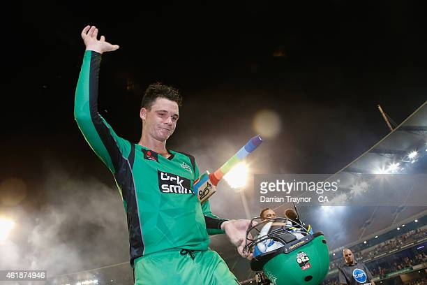 Peter Handscomb of the Melbourne Stars acknowledges the fans after scoring 103 not out and hitting the winning runs during the Big Bash League match...