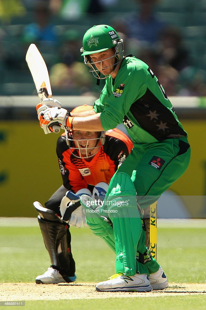 Peter Handscomb of the Stars plays a shot during the Big Bash League match between the Melbourne Stars and the Perth Scorchers at Melbourne Cricket Ground on January 27, 2014 in Melbourne, Australia.