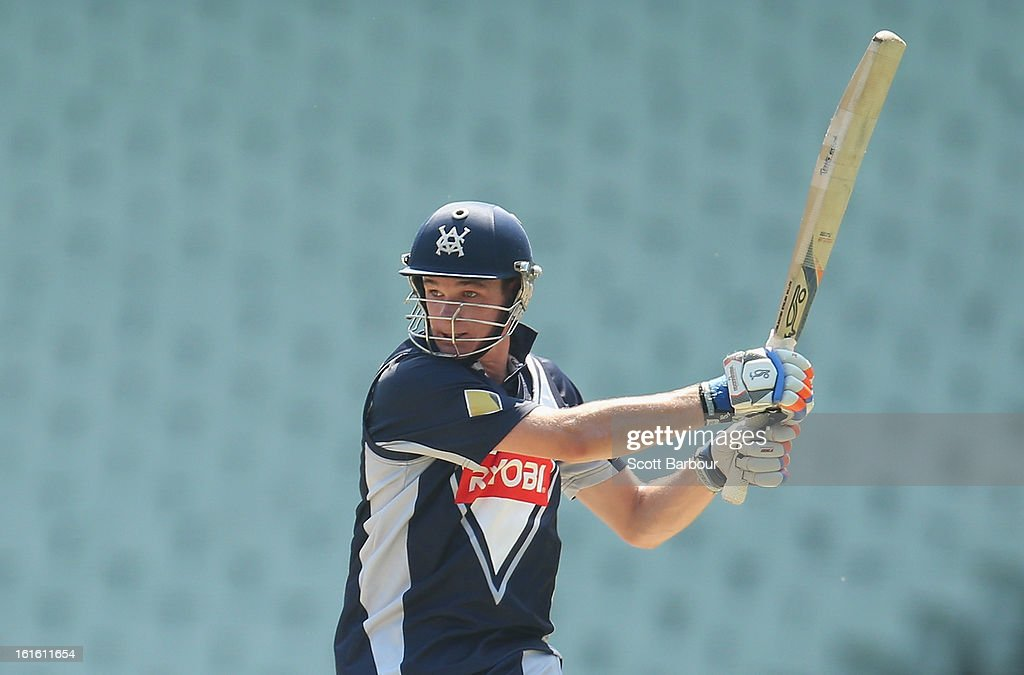 Peter Handscomb of Victoria bats during the international tour match between Victoria and the England Lions at the Melbourne Cricket Ground on February 13, 2013 in Melbourne, Australia.