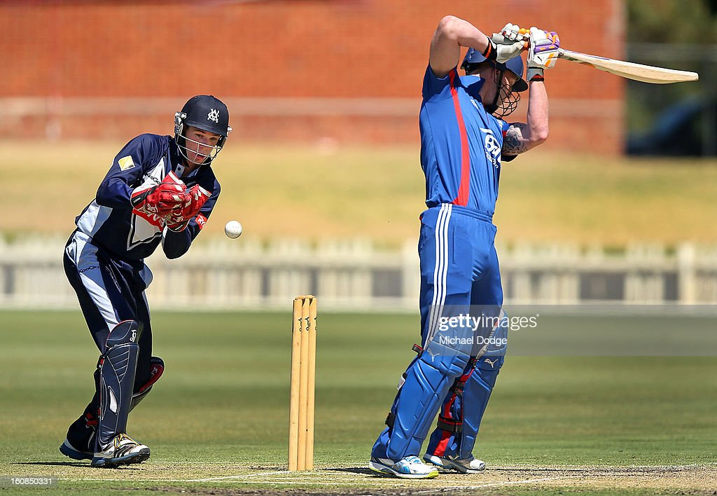 Peter Handscomb of Victoria drops a catch during the International tour match between the Victorian 2nd XI and the England Lions at Junction Oval on February 7, 2013 in Melbourne, Australia.
