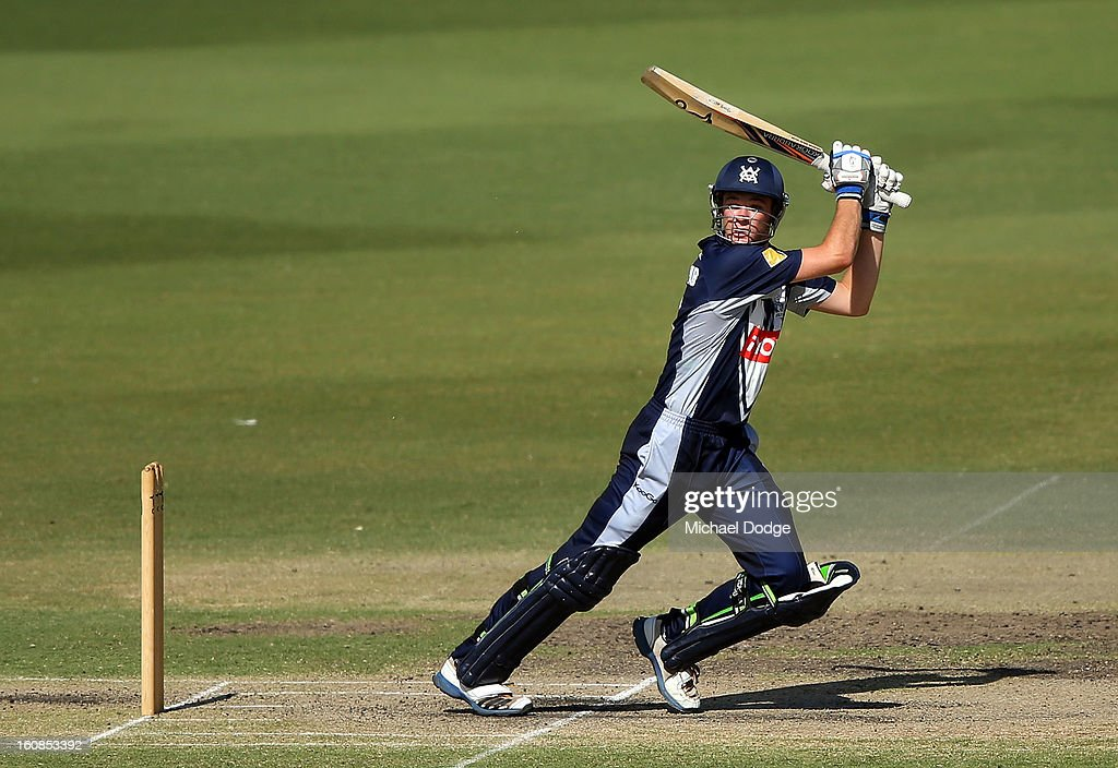 Peter Handscomb of Victoria hits the ball and the winning runs during the International tour match between the Victorian 2nd XI and the England Lions at Junction Oval on February 7, 2013 in Melbourne, Australia.