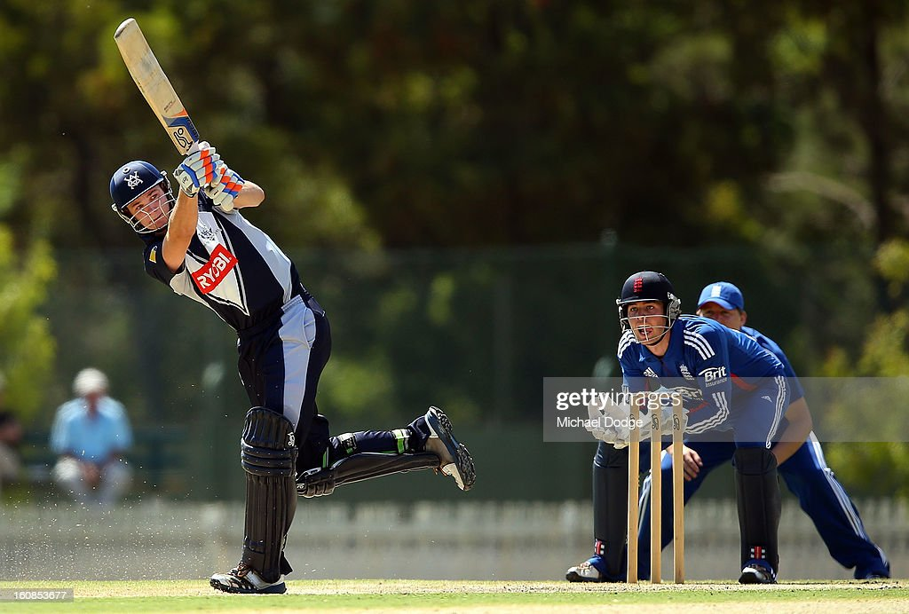 Peter Handscomb of Victoria hits the ball during the International tour match between the Victorian 2nd XI and the England Lions at Junction Oval on February 7, 2013 in Melbourne, Australia.