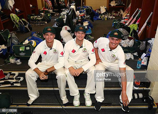 Peter Handscomb Steve Smith and Matt Renshaw of Australia pose in the change rooms after day five of the Third Test match between Australia and...