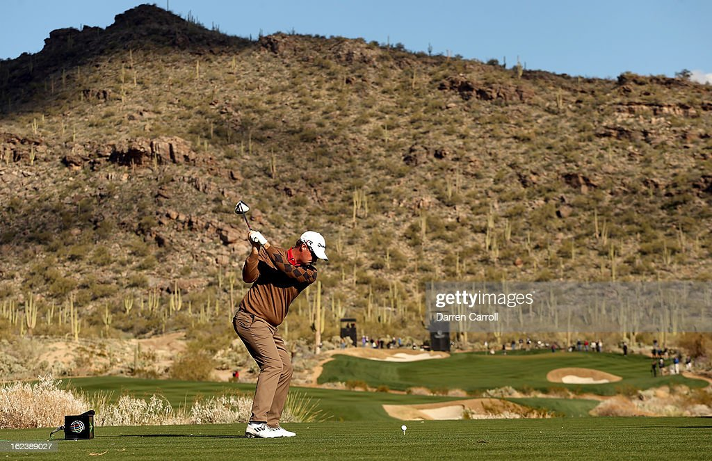 Peter Hanson of Sweden hits his tee shot on the 15th hole during the second round of the World Golf Championships - Accenture Match Play at the Golf Club at Dove Mountain on February 22, 2013 in Marana, Arizona.