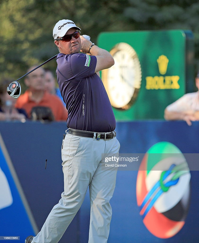 <a gi-track='captionPersonalityLinkClicked' href=/galleries/search?phrase=Peter+Hanson&family=editorial&specificpeople=217256 ng-click='$event.stopPropagation()'>Peter Hanson</a> of Sweden plays his tee shot on the par five 15th hole during the first round of the 2012 DP World Tour Championship on the Earth Course at Jumeirah Golf Estates on November 22, 2012 in Dubai, United Arab Emirates.