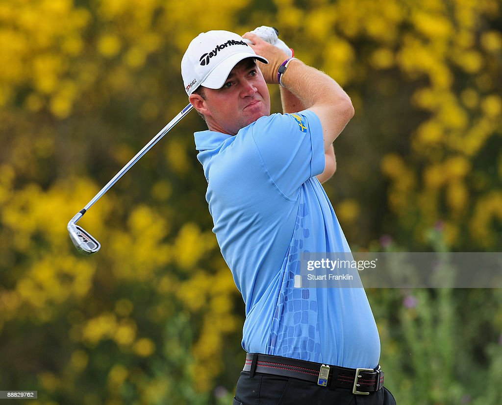 Peter Hanson of Sweden plays his tee shot on the seventh hole during the final round of the Open de France ALSTOM at the Le Golf National Golf Club...