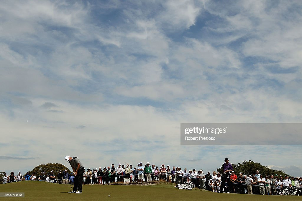 <a gi-track='captionPersonalityLinkClicked' href=/galleries/search?phrase=Peter+Hanson&family=editorial&specificpeople=217256 ng-click='$event.stopPropagation()'>Peter Hanson</a> of Sweden putts on the 5th hole during day one of the World Cup of Golf at Royal Melbourne Golf Course on November 21, 2013 in Melbourne, Australia.