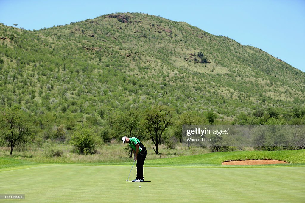 Peter Hanson of Sweden putts on the seventh green during the first round of the Nedbank Golf Challenge at the Gary Player Country Club on November 29, 2012 in Sun City, South Africa.