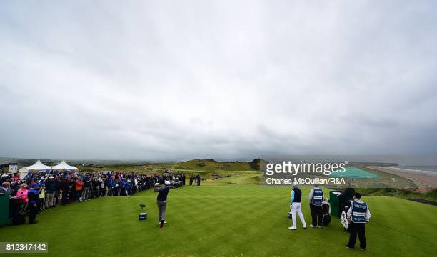 Peter Hanson of Sweden tees off from the 1st tee during the final round of the Dubai Duty Free Irish Open hosted by the Rory Foundation at...