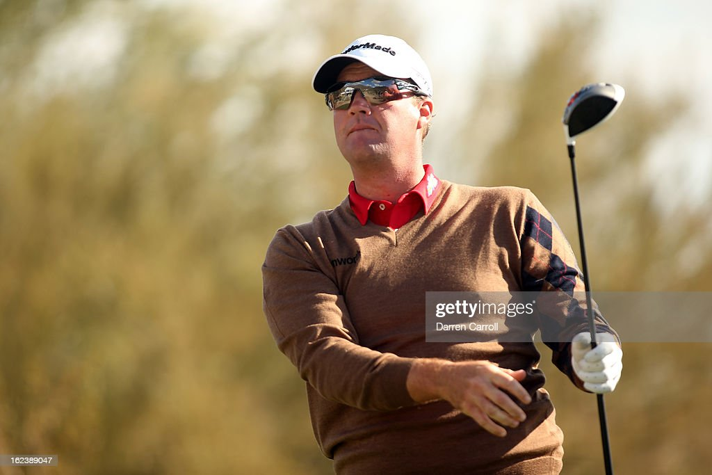 Peter Hanson of Sweden watches his tee shot on the 15th hole during the second round of the World Golf Championships - Accenture Match Play at the Golf Club at Dove Mountain on February 22, 2013 in Marana, Arizona.