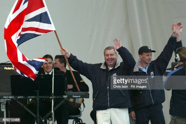 Peter Harrison and Ian Walker of Team GBR take a bow during the opening ceremony for the America's Cup in Auckland New Zealand The team is Britain's...