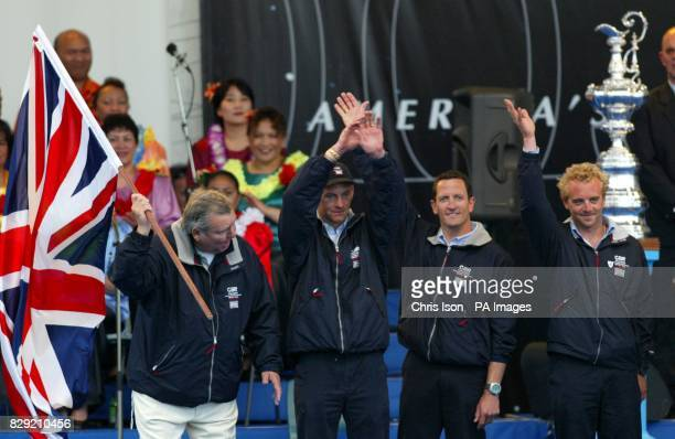 Peter Harrison Ian Walker Adrian Stead and Andy Green of Team GBR take a bow during the opening ceremony for the America's Cup in Auckland New...