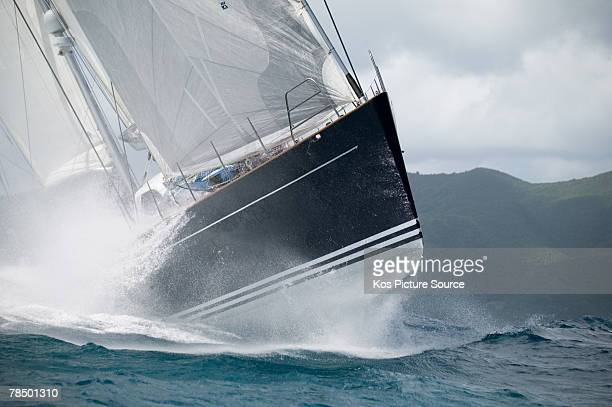 Peter Harrison of the UK sails his superyacht Sojana to victory in Race 3 on the final day of The Superyacht Cup 2007 in the Caribbean December 15...