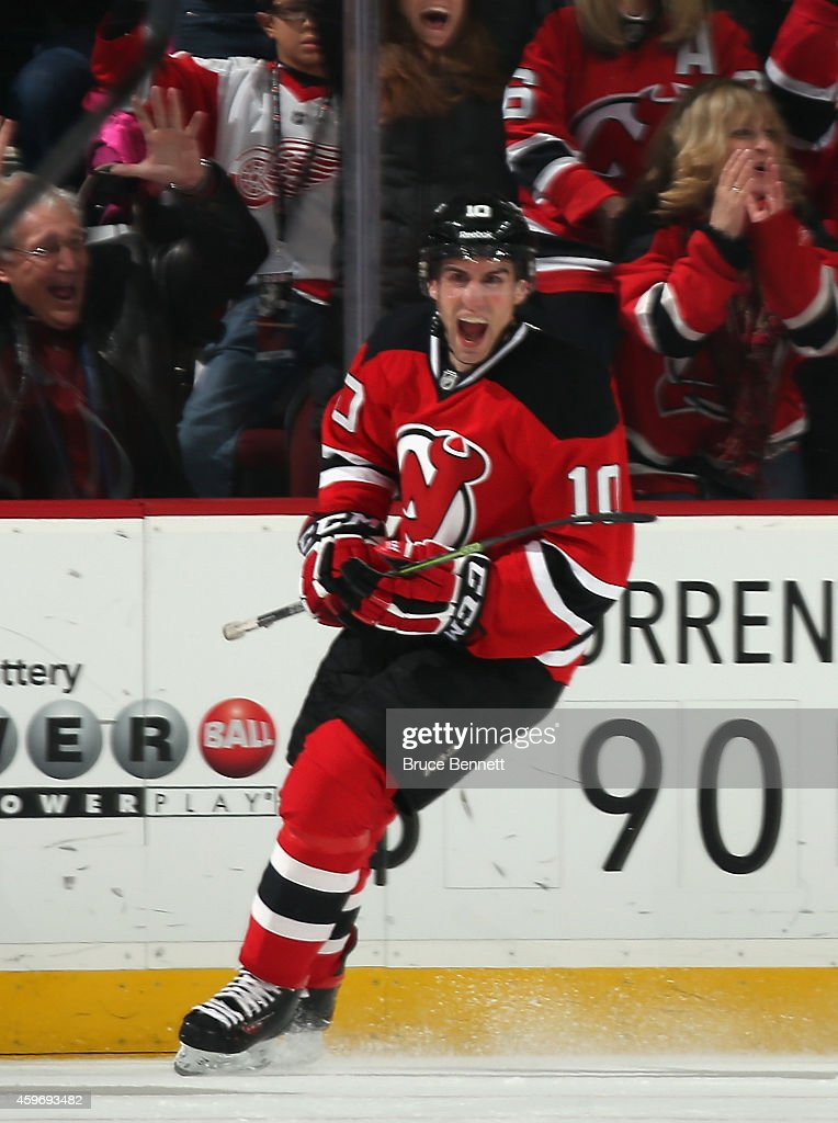 Peter Harrold of the New Jersey Devils celebrates his goal at 1518 of the first period against the Detroit Red Wings at the Prudential Center on...