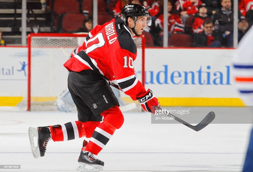 Peter Harrold of the New Jersey Devils in action against the Edmonton Oilers at the Prudential Center on February 7 2014 in Newark New Jersey The...