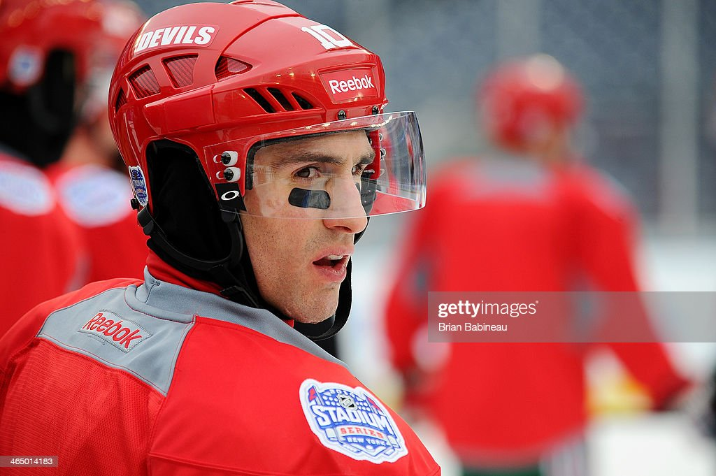 Peter Harrold of the New Jersey Devils looks on during the 2014 NHL Stadium Series practice sessions and family skate at Yankee Stadium on January 25...