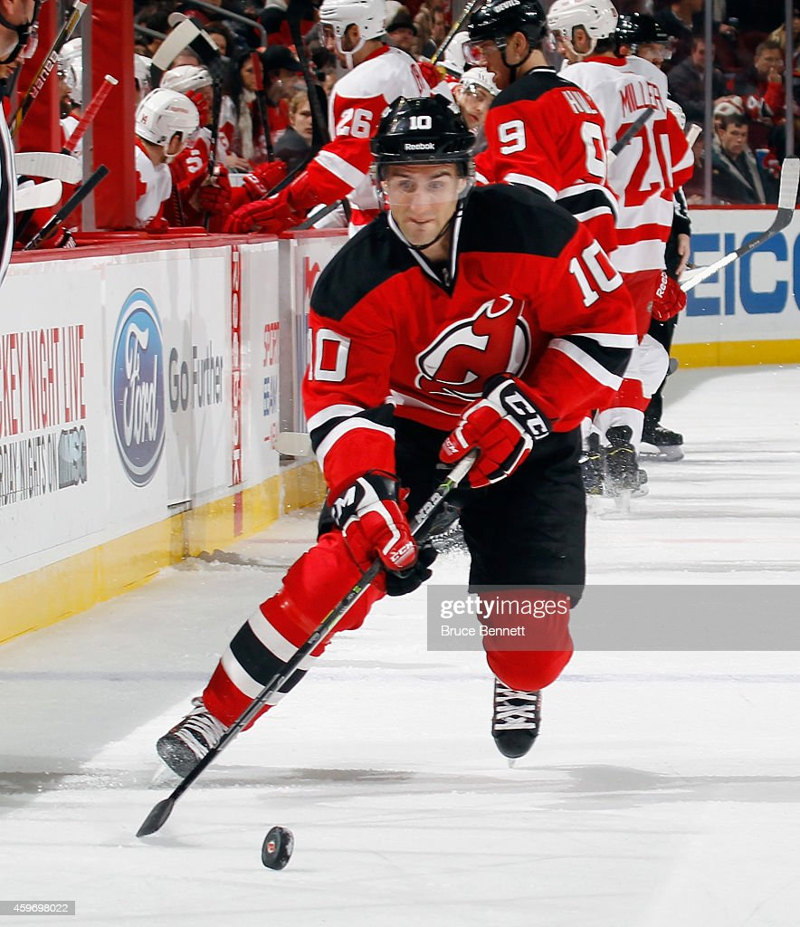 Peter Harrold of the New Jersey Devils skates against the Detroit Red Wings at the Prudential Center on November 28 2014 in Newark New Jersey The Red...