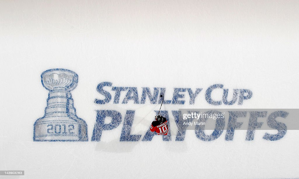 Peter Harrold of the New Jersey Devils skates during warmups prior to the game against the Philadelphia Flyers in Game Three of the Eastern...