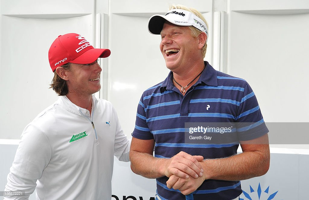 Peter Hedblom of Sweden (R) and Kristoffer Broberg of Sweden take part in a Genworth Putts 4 Charity event during the third round of UBS golf tournament the Hong Hong Open at Hong Kong Golf Club on November 17, 2012 in Hong Kong.