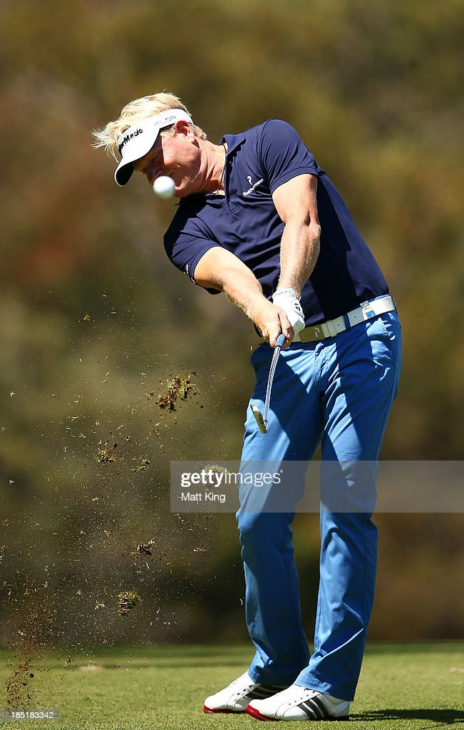 <a gi-track='captionPersonalityLinkClicked' href=/galleries/search?phrase=Peter+Hedblom&family=editorial&specificpeople=211513 ng-click='$event.stopPropagation()'>Peter Hedblom</a> of Sweden plays a fairway shot on the 4th hole during day two of the Perth International at Lake Karrinyup Country Club on October 18, 2013 in Perth, Australia.
