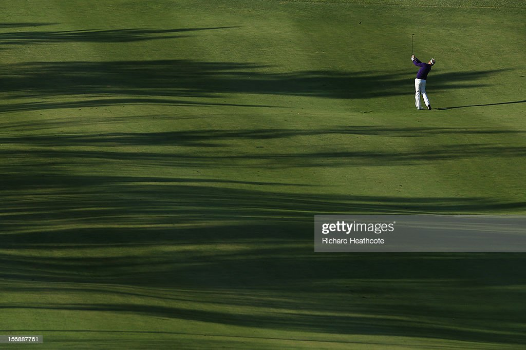 <a gi-track='captionPersonalityLinkClicked' href=/galleries/search?phrase=Peter+Hedblom&family=editorial&specificpeople=211513 ng-click='$event.stopPropagation()'>Peter Hedblom</a> of Sweden plays into the 1st green on the tour course during the first round of the European Tour Qualifying School Finals at PGA Catalunya Resort on November 24, 2012 in Girona, Spain.