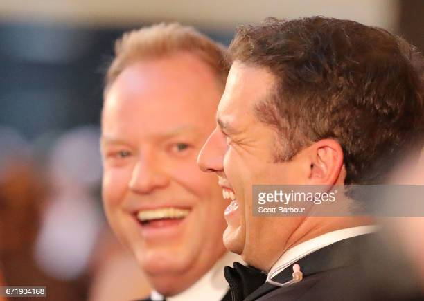 Peter Helliar talks with Karl Stefanovic at the 59th Annual Logie Awards at Crown Palladium on April 23 2017 in Melbourne Australia