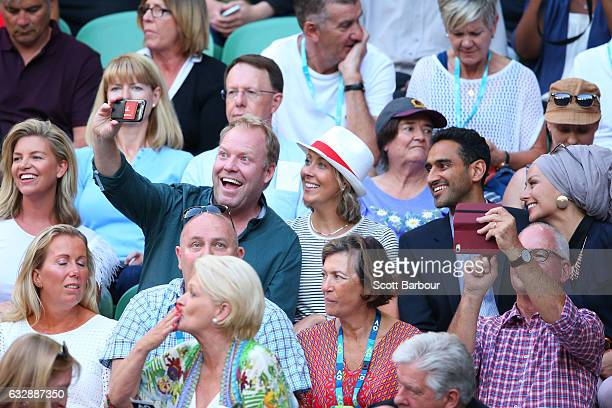 Peter Helliar Waleed Aly and his wife Susan Carland attend the Women's Singles Final match between Venus Williams of the United States and Serena...