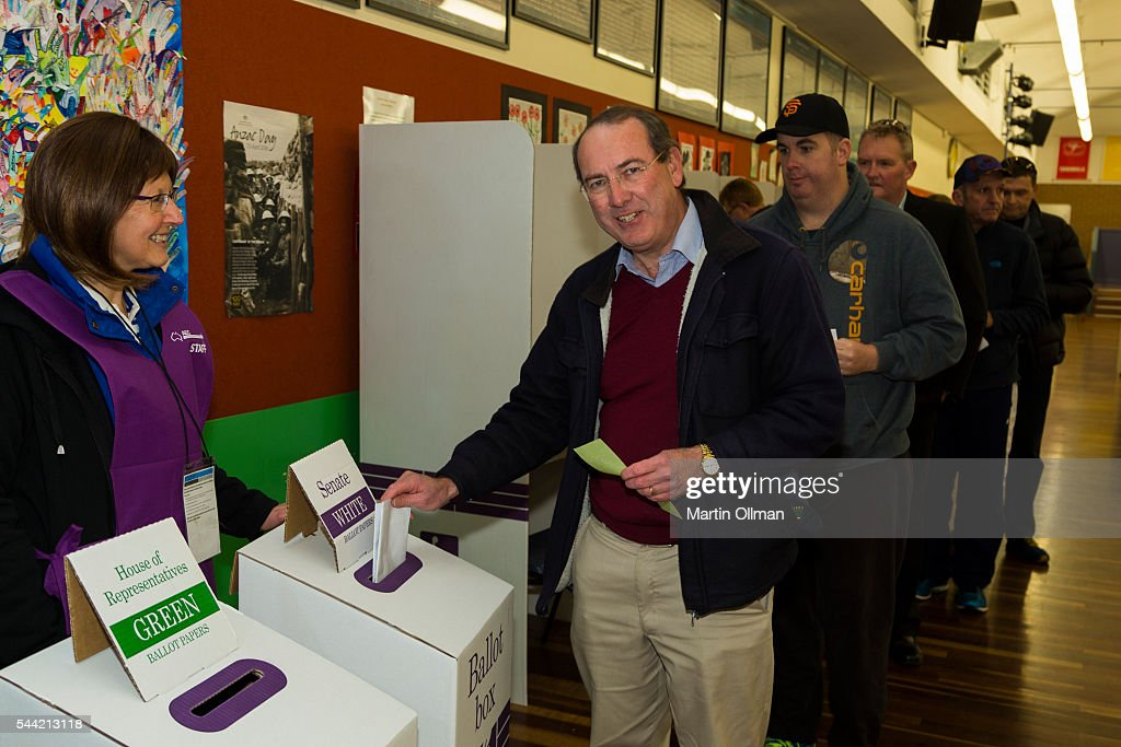 Peter Hendy MP Federal Member for Eden-Monaro votes in the electorate of Eden-Monaro on July 2, 2016 in Queanbeyan. Australia. Voters head to the polls today to elect the 45th parliament of Australia.