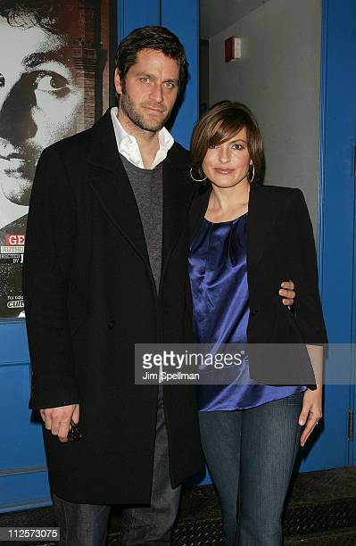 Peter Hermann and Actress Mariska Hargitay attends the 'Betrayed' Opening Night Arrivals at Culture Project on February 6 2008 in New York City