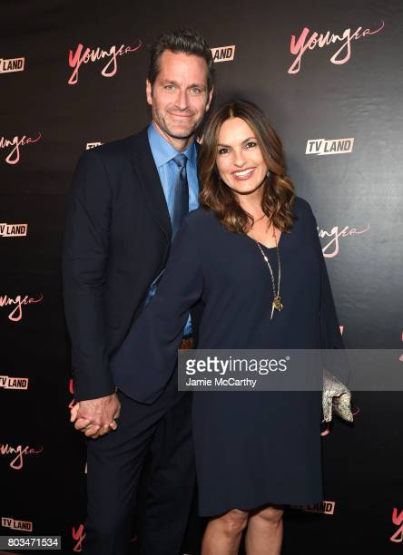 Peter Hermann and Mariska Hargitay attend the 'Younger' Season Four Premiere Party at Mr Purple on June 27 2017 in New York City on June 27 2017 in...