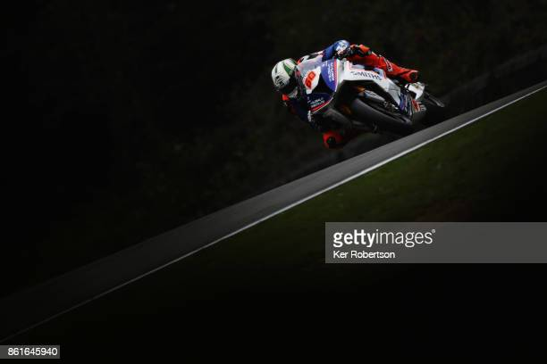 Peter Hickman of Smiths Racing BMW rides during warm up for the British Superbike Championship finale at Brands Hatch on October 15 2017 in Longfield...