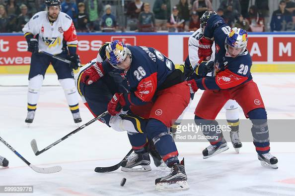 Peter Hochkofler and Daniel Welser of EC Red Bull Salzburg during the Champions Hockey League match between Red Bull Salzburg and HV71 Jonkoping at...