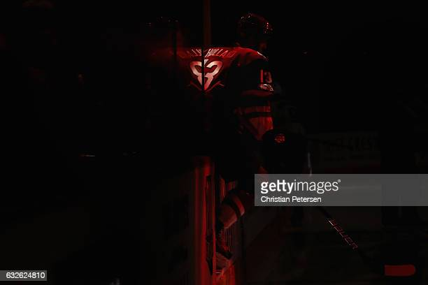 Peter Holland of the Arizona Coyotes takes the ice before the start of the NHL game against the Florida Panthers at Gila River Arena on January 23...