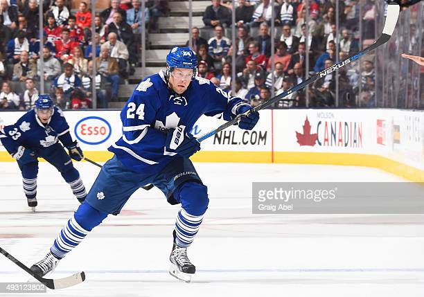 Peter Holland of the Toronto Maple Leafs skates during NHL game action against the Montreal Canadiens October 7 2015 at Air Canada Centre in Toronto...
