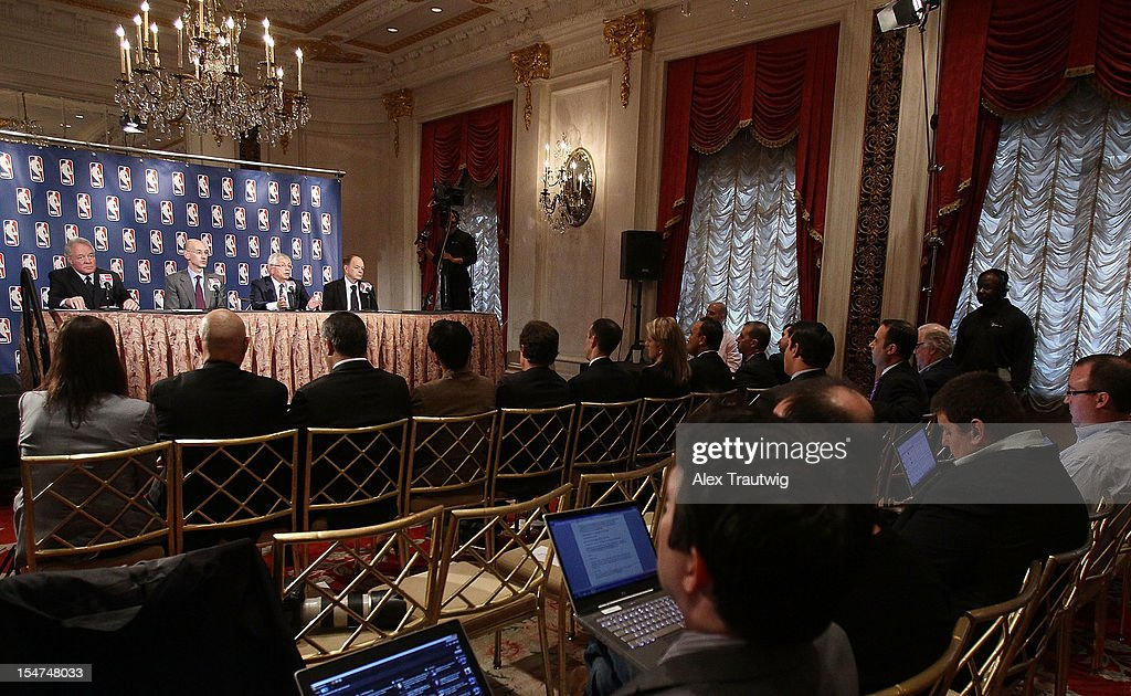 Peter Holt, owner of the San Antonio Spurs, Adam Silver, Deputy Commissioner of the NBA, David Stern, Commissioner of the NBA, and Glen Taylor, owner of the Minnesota Timberwolves, address the media following the NBA Board of Governors Meeting, during which Stern outlined his plans to step down in February 2014, at the St. Regis hotel on October 25, 2012 in New York City.