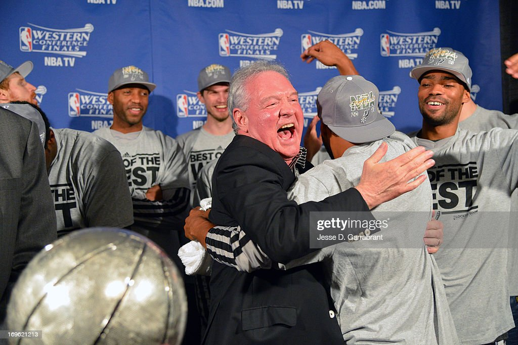 Peter Holt owner of the San Antonio Spurs celebrates after the game against the Memphis Grizzlies in Game Four of the Western Conference Finals during the 2013 NBA Playoffs on May 27, 2013 at FedExForum in Memphis, Tennessee.