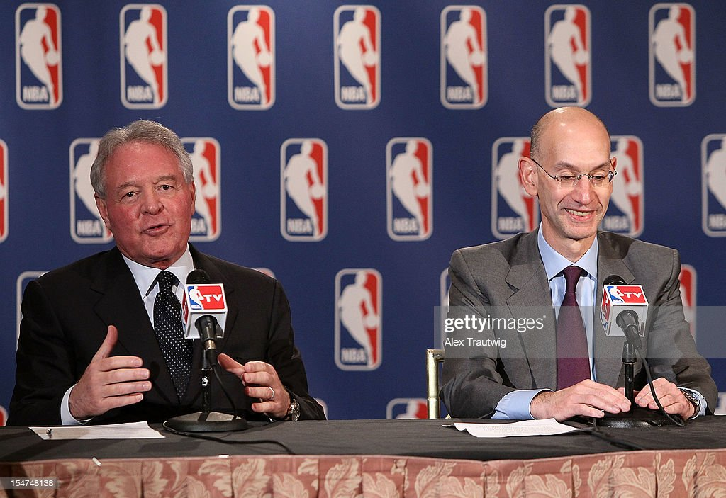 Peter Holt, owner of the San Antonio Spurs, speaks to the media following the NBA Board of Governors Meeting, during which Commissioner David Stern outlined his plans to step down in February 2014, as Adam Silver, Deputy Commissioner of the NBA, listens at the St. Regis hotel on October 25, 2012 in New York City.