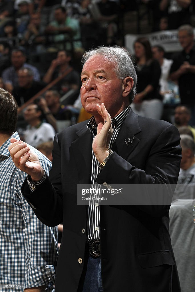 Peter Holt the owner of the San Antonio Spurs claps during the game against the Los Angeles Lakers in Game One of the 2013 NBA Playoffs at the AT&T Center on April 21, 2013 in San Antonio, Texas.