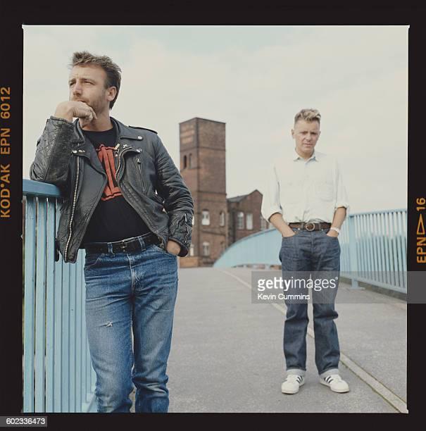 Peter Hook and Bernard Sumner of British rock group New Order circa 1985