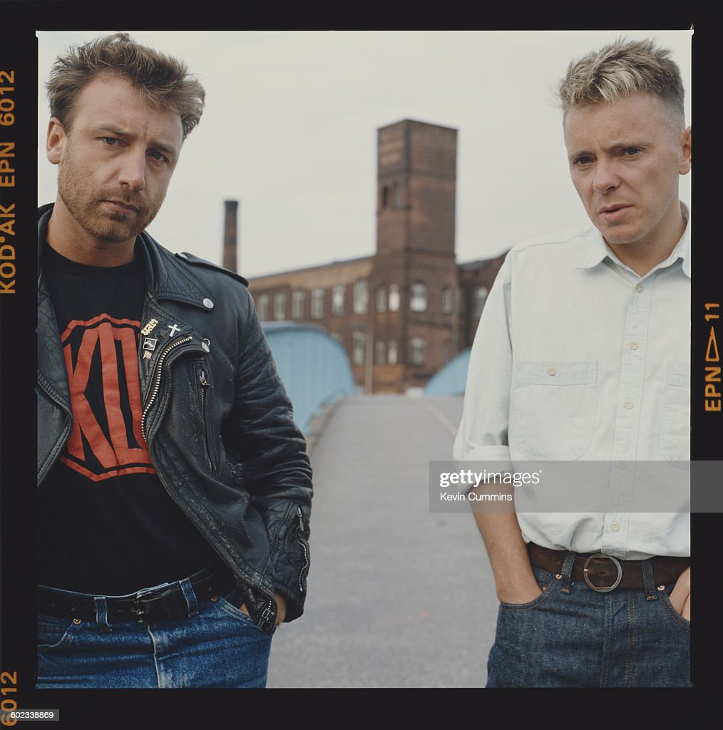 Peter Hook (left) and Bernard Sumner of British rock group New Order, circa 1985.