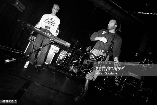 Peter Hook and Chris Jones of Revenge perform on stage on tour United Kingdom 1990