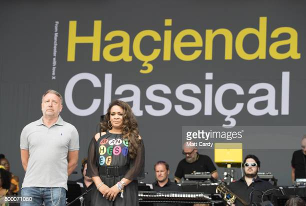 Peter Hook introduces a minute's silence for the victims of the recent tragedies in London and Manchetser before Hacienda Classical open the festival...