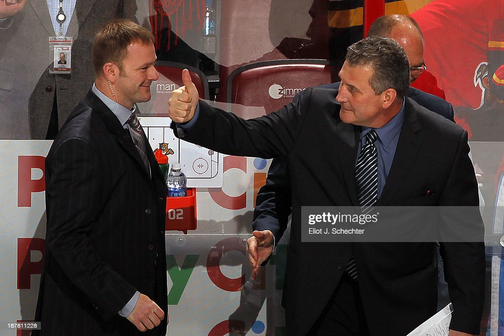Peter Horachek of the Florida Panthers gives the thumbs up after his first win as Interim Head Coach against the Anaheim Ducks at the BB&T Center on November 12, 2013 in Sunrise, Florida.