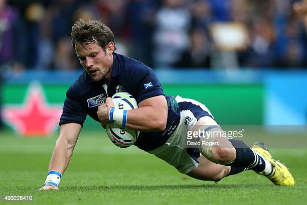 Peter Horne of Scotland scores his teams first try during the 2015 Rugby World Cup Quarter Final match between Australia and Scotland at Twickenham...