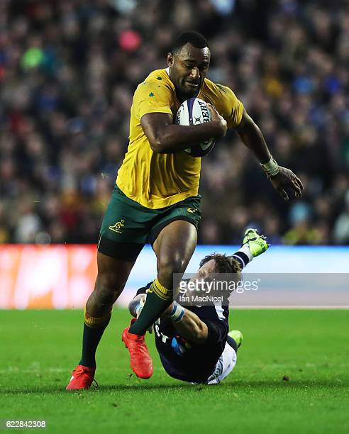 Peter Horne of Scotland tries to stopTevita Kuridrani of Australia as he runs through to score a try during the Scotland v Australia Autumn Test...