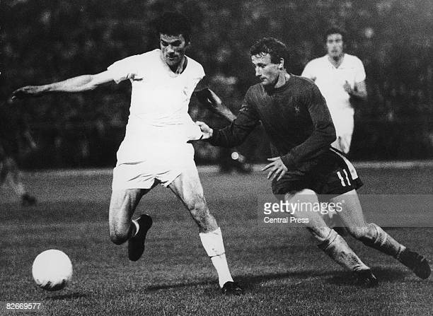 Peter Houseman of Chelsea moves in to tackle a Real Madrid player during the UEFA Cup Winners' Cup final at the Karaiskakis Stadium Piraeus 19th May...