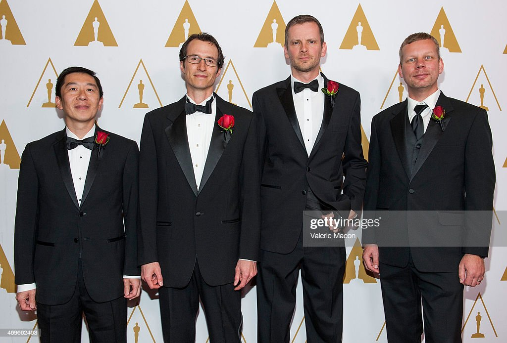 Peter Huang, Chris Perry, Joe Mancewicz and Hans Rijpkema arrive at the Academy Of Motion Picture Arts And Sciences' Scientific And Technical Awards Ceremony at Beverly Hills Hotel on February 15, 2014 in Beverly Hills, California.